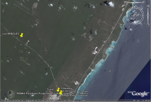 "Riviera Maya Airport 20° 20' 30"" latitud North (N) y 87° 30' 30"" longitud west (W)"