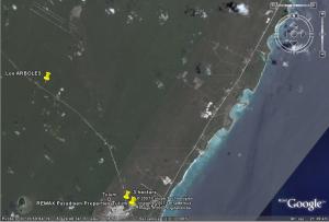 """Riviera Maya Airport 20° 20' 30"""" latitud North (N) y 87° 30' 30"""" longitud west (W)"""