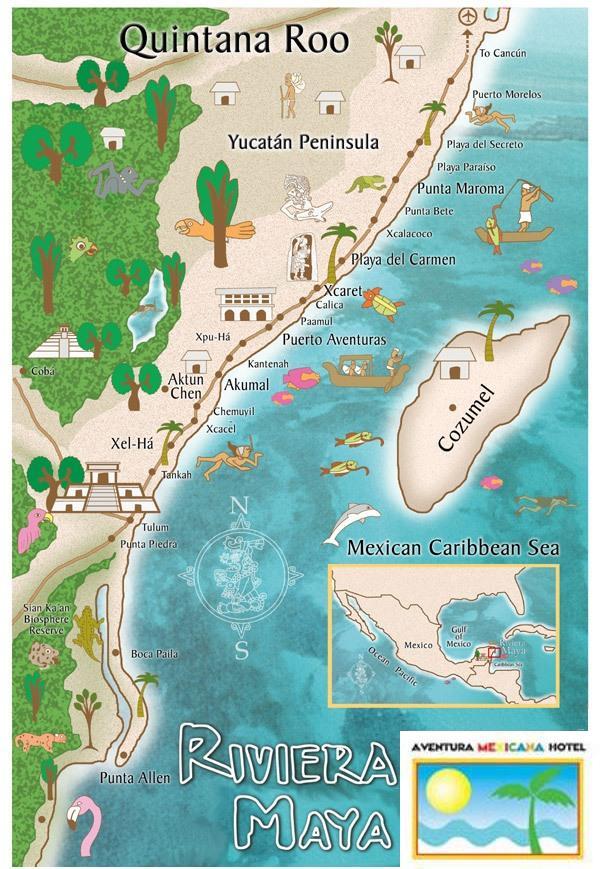 Mapa Riviera Maya Aeropuerto en Tulum