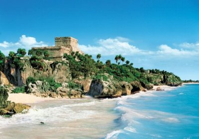 Tulum Beach and Tulum Ruins